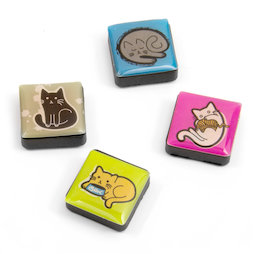 SALE-053/cats, Icons Katzen, Dekomagnete quadratisch, 4er-Set, in diversen Designs