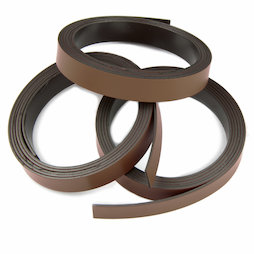 MT-10/brown, Gekleurd magneetband 10 mm, om zelf te beschrijven en op maat te knippen, rollen à 1 m, bruin