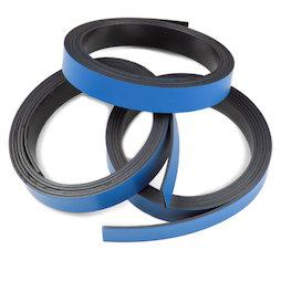 MT-10/blue, Blauw magneetband 10 mm, om zelf te beschrijven en op maat te knippen, rollen à 1 m