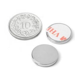S-15-02-FOAM, Disc magnet (self-adhesive) Ø 15 mm, height 2 mm, neodymium, N35, nickel-plated