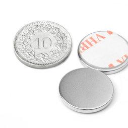 S-18-02-FOAM, Disc magnet (self-adhesive) Ø 18 mm, height 2 mm, neodymium, N35, nickel-plated
