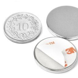 S-22-02-FOAM, Scheibenmagnet (selbstklebend) Ø 22 mm, Höhe 2 mm, Neodym, N35, vernickelt