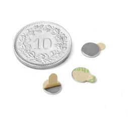 S-06-0.75-STIC, Disco magnético (adhesivo) Ø 6 mm, alto 0.75 mm, neodimio, N35, niquelado