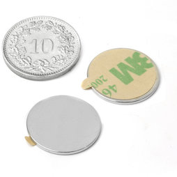 S-18-01-STIC, Scheibenmagnet selbstklebend Ø 18 mm, Höhe 1 mm, Neodym, N35, vernickelt