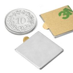 Q-20-20-01-STIC, Parallelepipedo magnetico autoadesivo 20 x 20 x 1 mm, neodimio, N35, nichelato