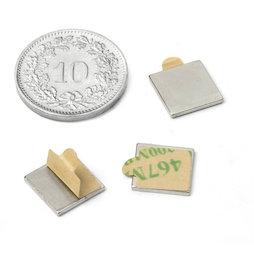 Q-10-10-01-STIC, Quadermagnet selbstklebend 10 x 10 x 1 mm, Neodym, N35, vernickelt