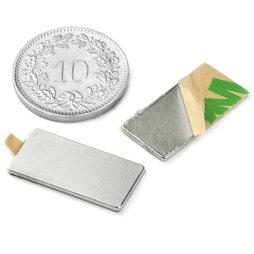Q-20-10-01-STIC, Blokmagneet zelfklevend 20 x 10 x 1 mm, neodymium, N35, vernikkeld