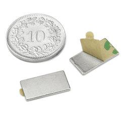 Q-15-08-01-STIC, Quadermagnet (selbstklebend) 15 x 8 x 1 mm, Neodym, N35, vernickelt
