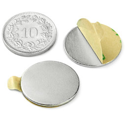 S-20-01-STIC, Disc magnet (self-adhesive) Ø 20 mm, height 1 mm, neodymium, N35, nickel-plated