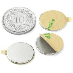 S-15-01-STIC, Scheibenmagnet selbstklebend Ø 15 mm, Höhe 1 mm, Neodym, N35, vernickelt
