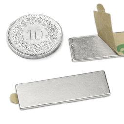 Q-30-10-01-STIC, Quadermagnet selbstklebend 30 x 10 x 1 mm, Neodym, N35, vernickelt