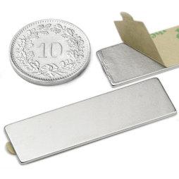 Q-40-12-01-STIC, Quadermagnet selbstklebend 40 x 12 x 1 mm, Neodym, N35, vernickelt