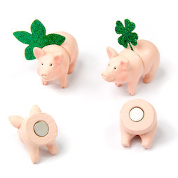 LIV-114, Piggies, deco magnets in the shape of piggies, 3x front side, 3x back side, set of 6