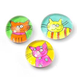 LIV-121/neon, Katzen, handgemachte Kühlschrankmagnete, 3er-Set, Neonfarben