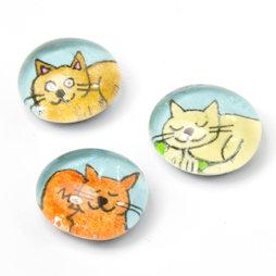LIV-121/colored, Katzen, handgemachte Kühlschrankmagnete, 3er-Set, bunt