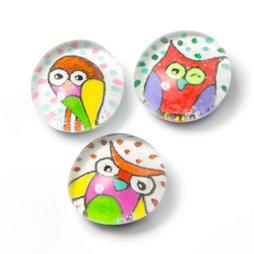 LIV-120/owl, Kulttiere, handgemachte Kühlschrankmagnete, 3er-Set, Eule