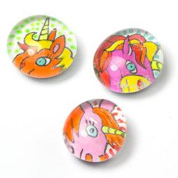 LIV-120/unicorn, Kulttiere, handgemachte Kühlschrankmagnete, 3er-Set, Einhorn