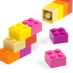 LIV-116, Blocs de construction colorés Girls, avec aimant incorporé, couleurs assorties, lot de 12