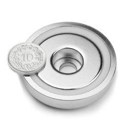 ZTN-48, Aimant en pot avec perçage cylindrique, Ø 48 mm