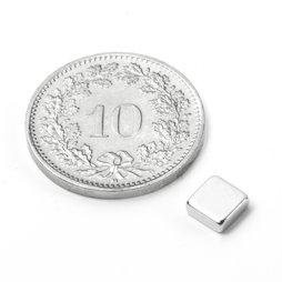 Q-05-05-02-N, Quadermagnet 5 x 5 x 2 mm, Neodym, N45, vernickelt