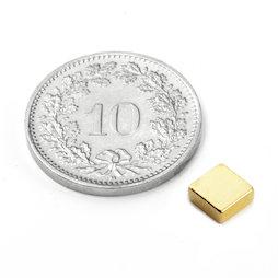 Q-05-05-02-G, Quadermagnet 5 x 5 x 2 mm, Neodym, N45, vergoldet