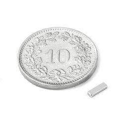 Q-05-1.5-01-N, Quadermagnet 5 x 1.5 x 1 mm, Neodym, N45, vernickelt