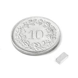 Q-05-2.5-1.5-HN, Parallelepipedo magnetico 5 x 2.5 x 1.5 mm, neodimio, 44H, nichelato
