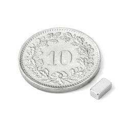 Q-05-2.5-02-HN, Parallélépipède magnétique 5 x 2.5 x 2 mm, néodyme, 44H, nickelé