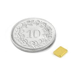 Q-05-04-01-G, Quadermagnet 5 x 4 x 1 mm, Neodym, N50, vergoldet