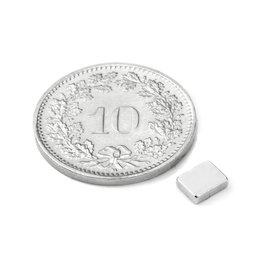 Q-05-04-1.5-N, Quadermagnet 5 x 4 x 1.5 mm, Neodym, N48, vernickelt