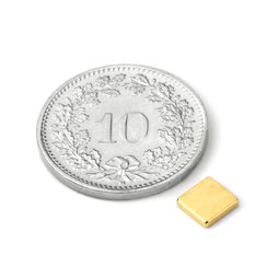 Q-CDM50-G, Blokmagneet 5 x 5 x 1.2 mm, neodymium, N50, verguld