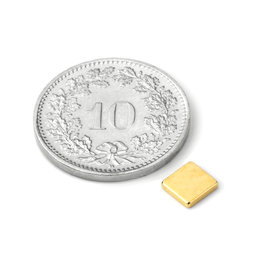 Q-CDM48-G, Parallelepipedo magnetico 5 x 5 x 1 mm, neodimio, N48, dorato