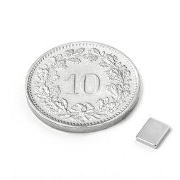 Q-05-04-01-N, Quadermagnet 5 x 4 x 1 mm, Neodym, N50, vernickelt