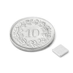 Q-05-05-01-HN, Quadermagnet 5 x 5 x 1 mm, Neodym, 44H, vernickelt
