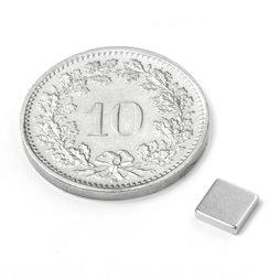 Q-CDM50-N, Quadermagnet 5 x 5 x 1.2 mm, Neodym, N50, vernickelt