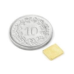 Q-07-06-1.2-G, Parallélépipède magnétique 7 x 6 x 1.2 mm, néodyme, N50, doré