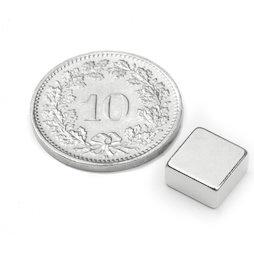 Q-08-08-04-N, Parallélépipède magnétique 8 x 8 x 4 mm, néodyme, N45, nickelé