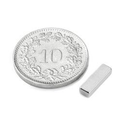 Q-10-03-02-HN, Parallelepipedo magnetico 10 x 3 x 2 mm, neodimio, 44H, nichelato