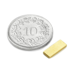 Q-10-04-01-G, Blokmagneet 10 x 4 x 1 mm, neodymium, N50, verguld