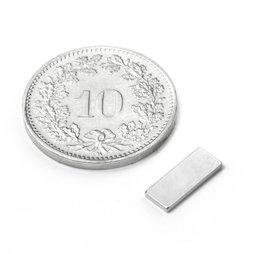 Q-10-04-01-N, Parallélépipède magnétique 10 x 4 x 1 mm, néodyme, N50, nickelé