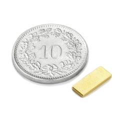 Q-10-04-1.2-G, Parallélépipède magnétique 10 x 4 x 1.2 mm, néodyme, N50, doré