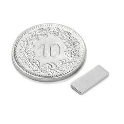 Q-10-04-1.2-N, Blokmagneet 10 x 4 x 1.2 mm, neodymium, N50, vernikkeld