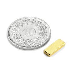 Q-10-04-1.5-G, Bloque magnético 10 x 4 x 1.5 mm, neodimio, N50, dorado