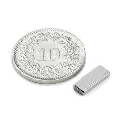 Q-10-04-1.5-N, Parallelepipedo magnetico 10 x 4 x 1.5 mm, neodimio, N50, nichelato