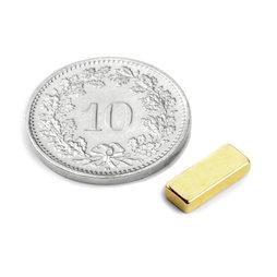 Q-10-04-02-G, Quadermagnet 10 x 4 x 2 mm, Neodym, N50, vergoldet