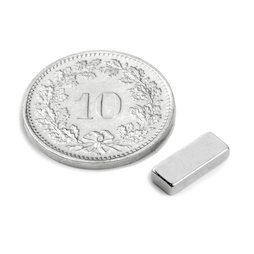 Q-10-04-02-N, Block magnet 10 x 4 x 2 mm, neodymium, N50, nickel-plated