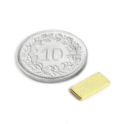 Q-10-05-01-G, Quadermagnet 10 x 5 x 1 mm, Neodym, N50, vergoldet