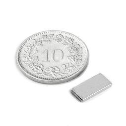 Q-10-05-01-N, Parallélépipède magnétique 10 x 5 x 1 mm, néodyme, N50, nickelé