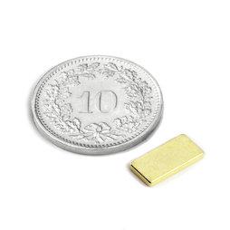 Q-10-05-1.2-G, Parallélépipède magnétique 10 x 5 x 1.2 mm, néodyme, N50, doré