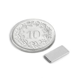 Q-10-05-1.2-N, Blokmagneet 10 x 5 x 1.2 mm, neodymium, N50, vernikkeld